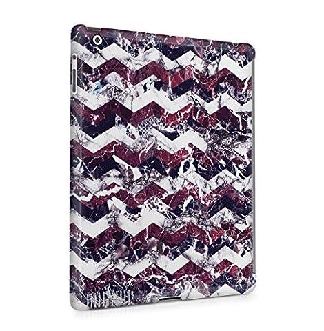 Violet Cherry Blanc Marbre Chevron Print Tablet Coque Housse Etui De Protection Plastique Dur Ligne Profil Slim Pour iPad 2 / iPad 3 / iPad 4 Hard Plastic Case Cover