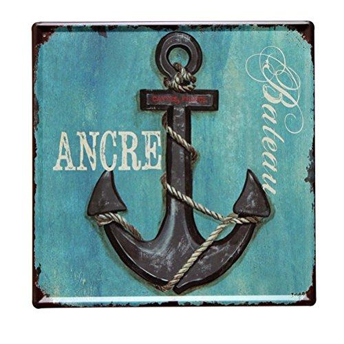 Lares Domi Nave Anchor Retrò Piatti Decorativi 30 x 30 cm