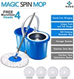 Hugo Bucket Magic Spin Double Drive Hand Pressure Microfiber Mop (Blue, 4 Refills)