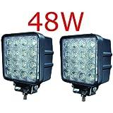 MIRACLE 2 X FARO DA LAVORO LUCE DI PROFONDITA' A LED 48W , 10-30V LED Lampada Lavoro Offroad Truck Jeep Auto Barca Mining ATV SUV 4WD