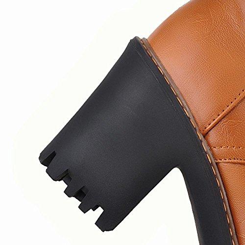 Mee Shoes Damen Schnürsenkel Langschaft Plateau chunky heels Stiefel Gelb
