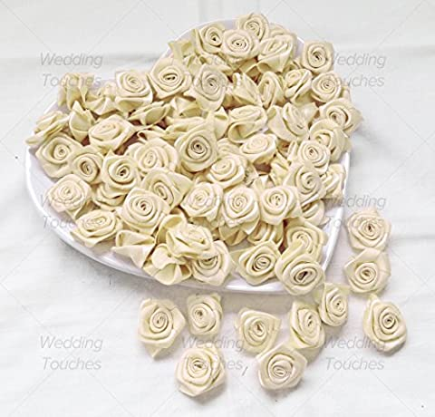 Ivory 25mm Satin Ribbon Rose Flowers Decorative Craft Flowers (25)