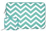 Mosiso Chevron Style Toile Tissu Laptop Sleeve Housse Sac pour 11-11,6 Pouces MacBook Air, Ultrabook Netbook Tablette avec Un Petit Boîtier, Chaud Bleu