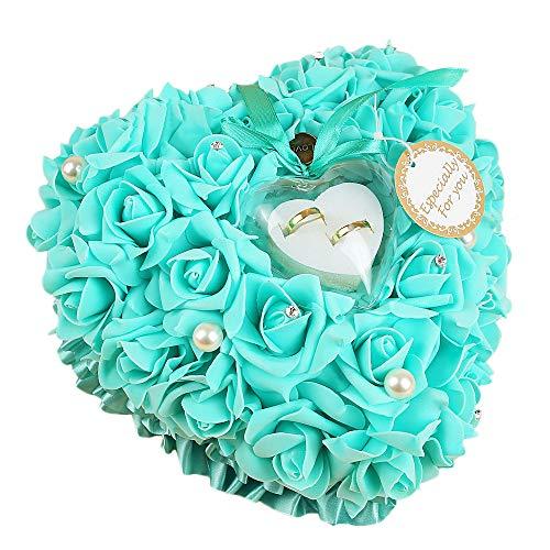 GLITZFAS Hochzeit Ringkissen mit Romantic Rose und Perlen, Handgemacht Ring Box Herzförmig Ehering Kissen, 24 x 24cm (Tiffany Blue)