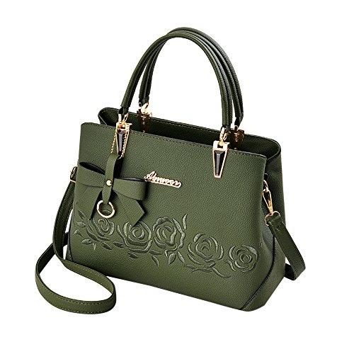 TianWlio Handtasche Damen Mode Bowknot Rose Muster Crossbody Bag Schultertasche Handtasche Grün