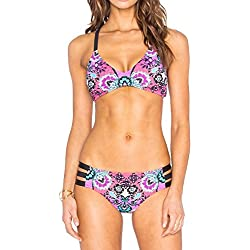 Agogo 2017 mujeres retro de tiras cruzar y gitano bohemio impresión Conjunto de bikini cortar monokini trajes de baño en verano playa resistencia deportes traje de baño (flor púrpura-1, XL)