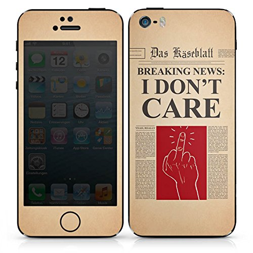Apple iPhone 4s Case Skin Sticker aus Vinyl-Folie Aufkleber News Spruch Egal DesignSkins® glänzend