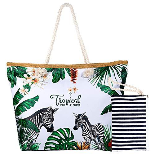 Joeyer Trendige Canvas Strandtasche mit Reißverschluss, Große Reise Einkaufstasche Handtasche für Urlaub (9) -