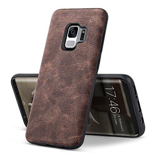 Galaxy S9 Hülle Case - BELK Vintage Leder Trim Tough PC Zurück & TPU Raised Edge Hybrid Slim Hartschalenkoffer für Samsung Galaxy S9 (Leder Trim-licht)