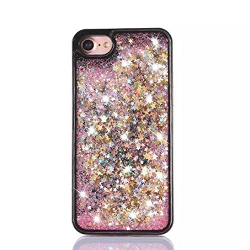 Ouneed® For iPhone 7 Hülle, 3D Dynamic Liquid Quicksand Glitzer Star Herz Case Cover für iPhone 7 4.7 Zoll (4.7 Zoll, E) B