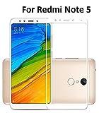 #8: Tingtong® Xiaomi Mi Redmi Note 5 Full Body Coloured 9H Hardness 2.5D Anti-Scratch, Case Friendy 0.3mm Tempered Glass [Edge To Edge Screen Covered (White)]