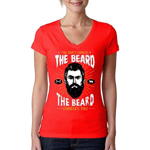 Fun Sprüche Girlie V-Neck Shirt - The Beard Chooses You by Im-Shirt Rot