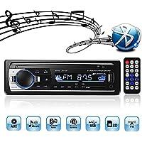 Autoradio Bluetooth Stereo Auto, 4x60W FM Radio 1 Din, Lettore mp3 USB/SD/AUX HandsFree con Telecomando