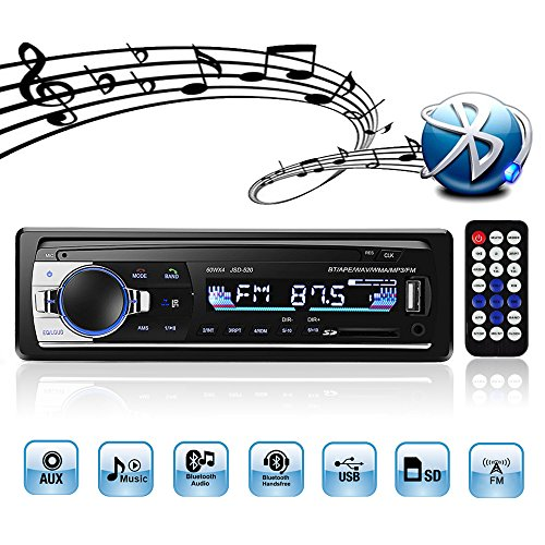 Autoradio mit Bluetooth, 4X60W Auto Audio Stereo FM Radio, MP3 Player USB/SD/Aux Freisprechfunktion mit Fernbedienung