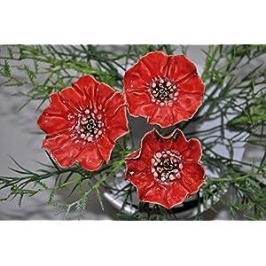 3 Keramikblumen: Rote Mohnblumen, ca. 4,5-5,5 cm von SylBer-Ceramics aus Markkleeberg