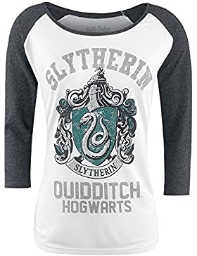 Harry Potter Slytherin - Quidditch Girl-Longsleeve weiß/grau meliert