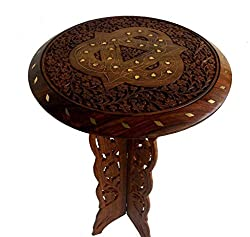 Indian Wooden Hand Made Carved Brass Ftd Table Size:- (Inche)15x15x24