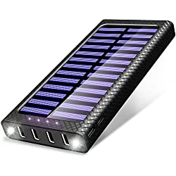 Batterie Externe TSSIBE 24000 mAh Power Bank 5.8A 4 Ports Solaire Chargeur Portable avec 3 Entrées (USB C et Micro) et LED Lumineuse pour iPhone X / 8 / 7 / 6 / 6S Plus 5S, iPad, Samsung Galaxy, Huawei, Smart Cell Phones and Tablet