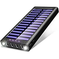 Power Bank TSSIBE 24000mAh Portable Charger with 4 Output & 3 Input(Type-C, Lightning, Micro) Solar Charger, Built in LED Flashlight External Battery Pack for iPhone, iPad, Samsung, Android and More Phones and Devices.