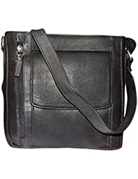 Style 98 Black Premium Quality Leather Messenger Bag/Sling Bag/Shoulder Bag/Crossbody Bag/Travel Bag For Men &...