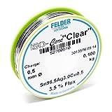 """Felder Lötdraht Iso-Core Lötzinn """"Clear"""" 0.5mm 0.1kg SAC305 Sn96.5Ag3Cu0.5"""
