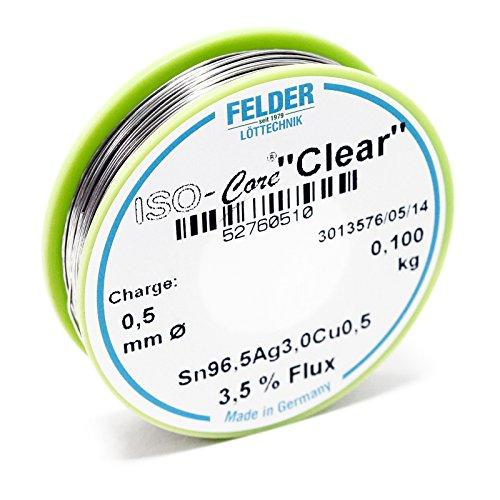 """Felder Lötdraht Iso-Core Lötzinn""""Clear"""" 0.5mm 0.1kg SAC305 Sn96.5Ag3Cu0.5"""