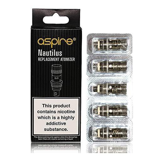 Original Aspire Nautilus BVC verdampferköpfe   coils 5 Stück Ohne Nikotin- Vertikal-Dual- Coil,Kern der Vernebler für e-Zigarette Nautilus,Nautilus 2,Nautilus Mini&K3 Clearomizer,Zelos 50W Kit (1.8 Ohm) - Vernebler-kits