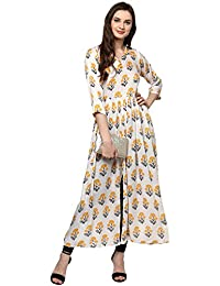 Ecolors Fab Women's Straight Party Wear Cotton Kurta_(Flower_2018)