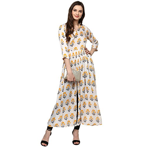 Ecolors Fab Women's Straight Party Wear Cotton Kurta_(Flower_2018) (White, XX-Large)