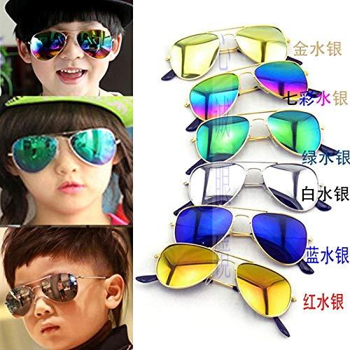 CYCY Student Sonnenbrille Großhandel Junge reflektierende Sonnenbrille Mädchen Kinder Kinder Sonnenbrille Kinder Kinder Kinder grün Quecksilber, zufällige Farben (1 Preis)