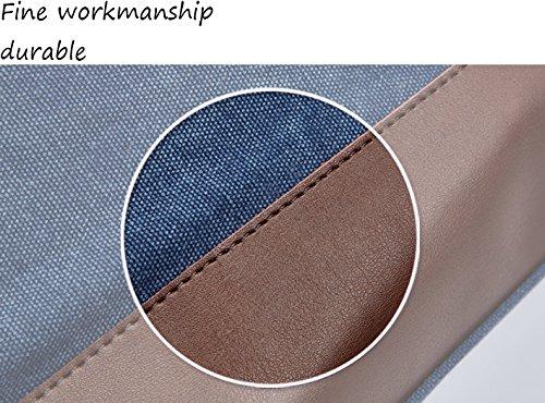 WOMJIA Reisetsache Sporttasche Weekender Tasche Handgepäck aus Canvas Segeltuch Vintage 35 Liter Blau Braun
