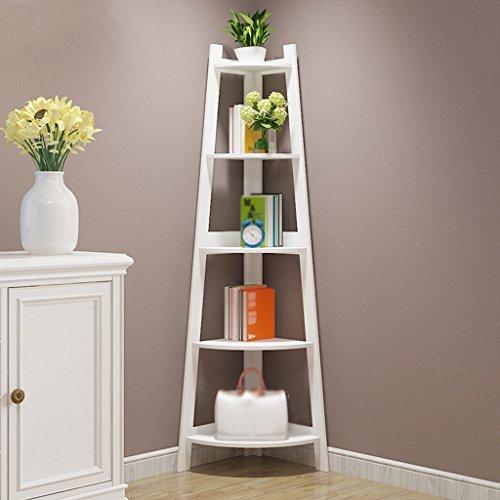 HWF Eckregal Bücherregal Bücherregal Standschränke Schließfächer Wohnzimmer Schlafzimmer  Minimalist Modern Student Kreativität ( Farbe : Weiß