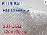 Luftpolsterfolie HQ 115gr Kunststoff-Füllung mit Blasen Luft ideal für Verpackung und Umzug 10Blätter 120cm x 100cm