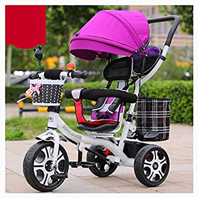 RUMIAO Baby Tricycle, [Rotating Seat] Baby Stroller, Adjustable Three-wheeled Cart, Increase Rear View Sunroof, Double Brake System, 0-6 Months,F
