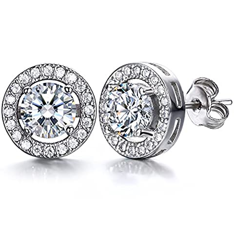 J.SHINE 925 Sterling Silver Stud Earrings for Women Men With 3A 6MM Round Cubic Zirconia