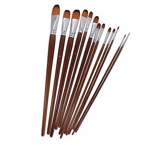 MagiDeal 13pcs Pinceaux de Peinture Nylon Brosse Outil Artistes Assortis pour Peinture à l'huile Acrylique Aquarelle - Filbert