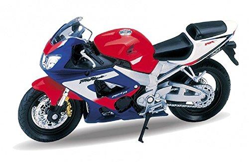 DieCast Modell Motorrad HONDA CBR900RR FIREBLADE rot blau metall Welly Motorradmodell 1:18