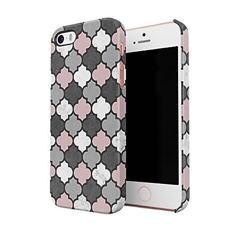 Grey & Rose Gold Moroccan Tiles Pattern Coque de protection fine en plastique Housse Etui rigide pour iPhone 5 & iPhone 5s & iPhone SE Slim fit Case Cover