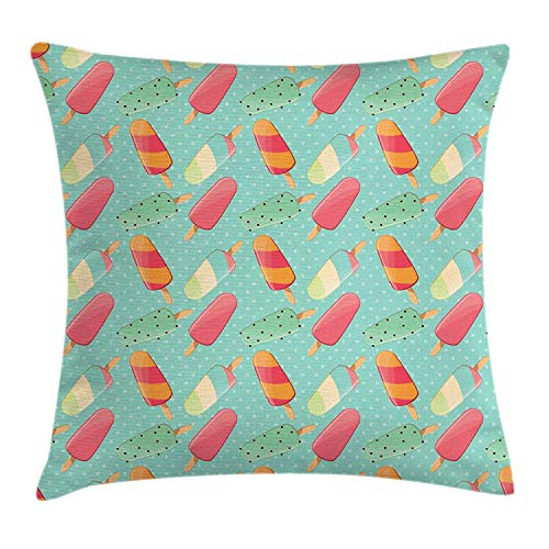 GONIESA Ice Cream Throw Pillow Cushion Cover, Ice Pops Sweet Flavors on Polka Dots Backdrop Retro Childhood Treats, Decorative Square Accent Pillow Case, 18 X 18 Inches, Pink Seafoam Marigold