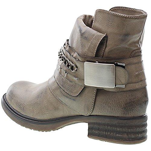 Sopily - Scarpe da Moda Stivaletti - Scarponcini Cavalier Biker alla caviglia donna Catena fibbia Tacco a blocco 3 CM - soletta sintetico - foderato di pelliccia - Nero Grigio