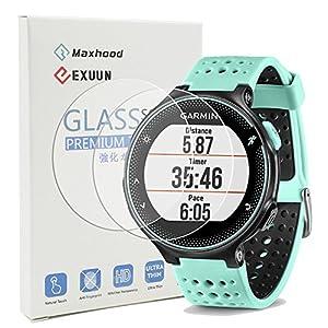 maxhood (2er Pack) 0,26 mm 2.5D round edge Premium Gehärtetem Glas Displayschutzfolie Film für Garmin 235 225 630 620 230 220