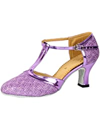 Honeystore Damen's Geschlossene Zehe T-Riemen Glitter Tanzschuhe Schwarz 5 UK