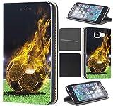 CoverHeld Hülle für Samsung Galaxy S4 Mini Premium Flipcover Schutzhülle aus Kunstleder Flip Case Motiv (1170 Fussball Fußball Schwarz Gelb Feuer)