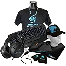 Roccat Ultimate Gaming Pack - Kit gaming (ratón Tyon Multi-Button Gaming y alfombrilla Taito King Size 5 mm, teclado mecánico Roccat Ryos MK Pro, auriculares Kave XTD Surround Sound)