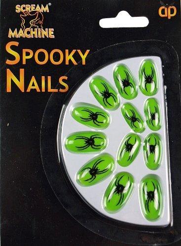 Faux Ongles Couleur Vert Néon - Accessoire Costume Déguisement Halloween Et Fête