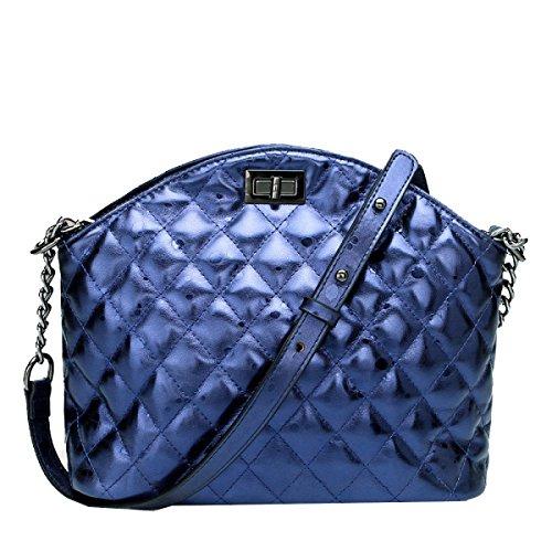Yy.f Neue Handtaschen Ledertaschen Patchwork-Muster-Schalentasche Dameschulterbeutel Art Und Weisekurierbeutel 3 Farben Taschen Blue