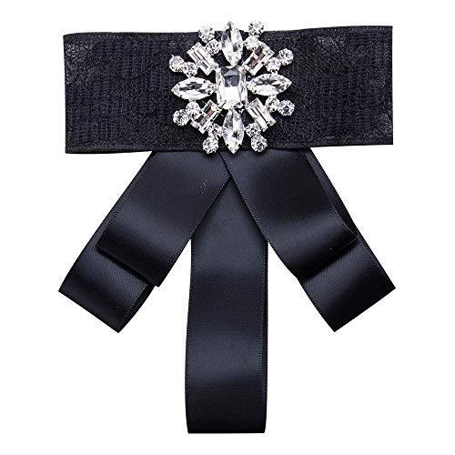 Wantschun Damen Schleifenbrosche Streifen Strass Perle Schmuckbrosche Bowknot Kleid Schleifen Blusen Brosche Design Q: Schwarz -