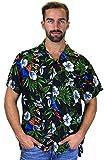 Funky Camicia Hawaiana, Cherryparrot, nero, L