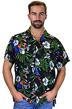 Funky Chemise Hawaienne, Cherry Parrot, black, XS