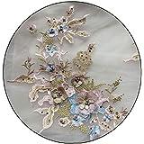 Hotaden con Cuentas De Novia De Encaje Bordado De Flores Escote Etiqueta para La Ropa Decoración De La Boda Vestido De Hierro En Apliques De Costura